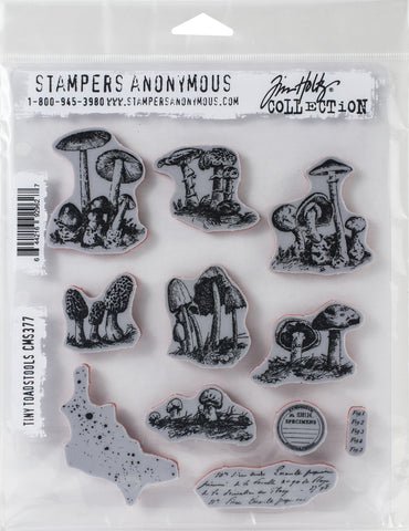 Tim Holtz Cling Stamps Tiny Toadstools 7inX8.5in