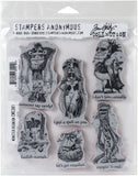 Tim Holtz Cling Stamps Monster Reunion 7inX8.5in