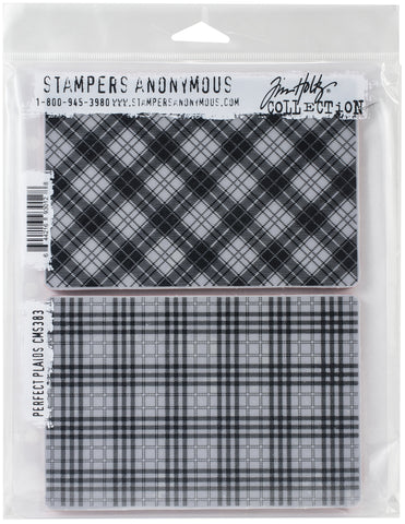 Tim Holtz Cling Stamps Perfect Plaid 7inX8.5in