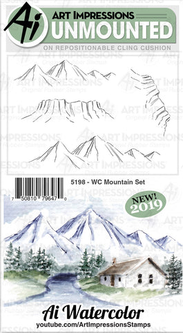 Art Impressions Watercolor Cling Rubber Stamps WC Mountain