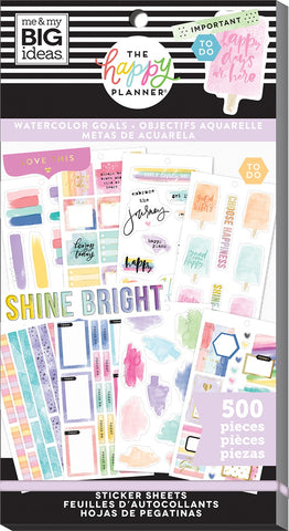 Happy Planner Sticker Value Pack Watercolor Goals 500pk