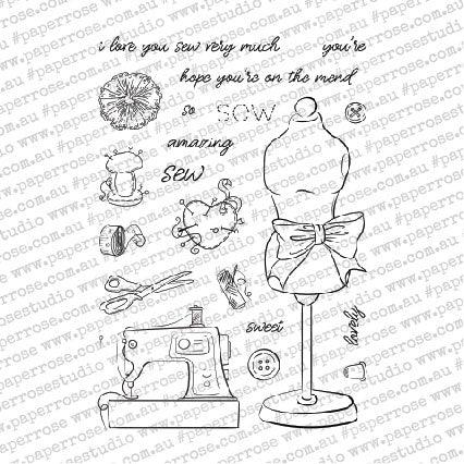 Paper Rose Clear Stamps Sew Lovely 4inX6in