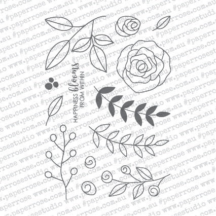 Paper Rose Clear Stamps Ella's Garden Scribble Leaves 4inX6in