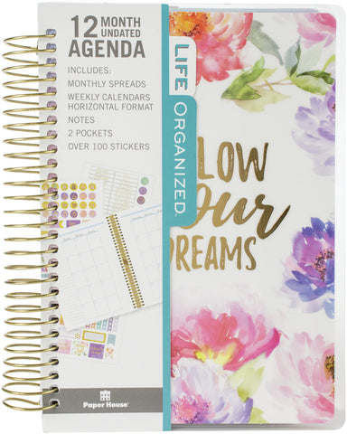 Paper House Mini 12-Month Undated Planner Cool Floral Dreams