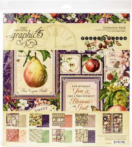 Graphic 45 Collection Pack Fruit & Flora 12inX12in