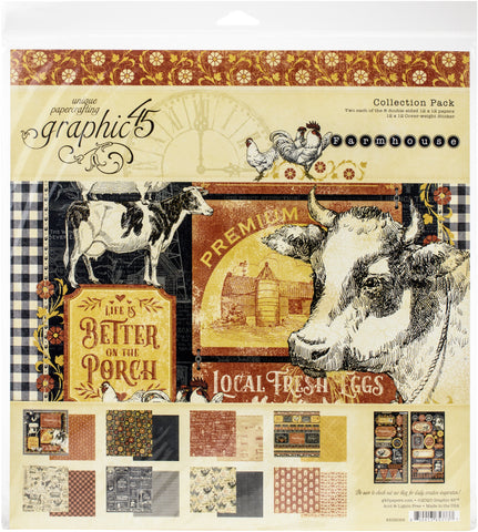 Graphic 45 Collection Pack Farmhouse 12inX12in