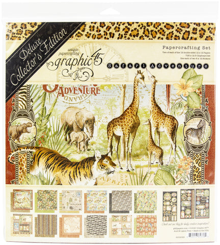 Graphic 45 Deluxe Collector's Edition Pack Safari Adventure 12inX12in