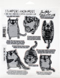 Tim Holtz Cling Stamps Snarky Cat 7inX8.5in