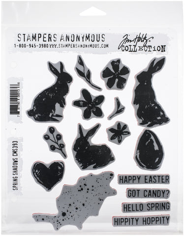Tim Holtz Cling Stamps Spring Shadows 7inX8.5in
