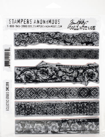Tim Holtz Cling Stamps Eclectic Edges 7inX8.5in