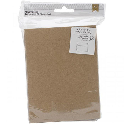 American Crafts A2 Envelopes Kraft 50pk