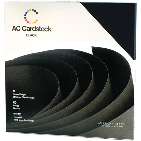 American Crafts Cardstock Pack Black 12inx12in