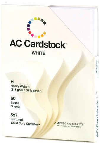 American Crafts Cardstock Pack White 5inx7in
