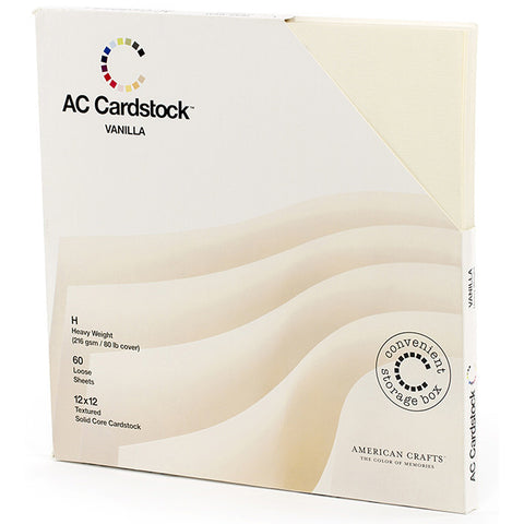 American Crafts Seasonal Cardstock Pack Vanilla 12inx12in