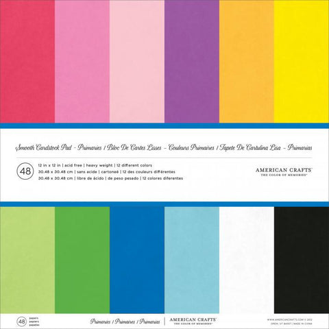 American Crafts Smooth Cardstock Pack Primaries 12inx12in