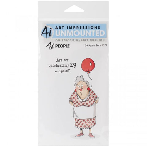 Art Impressions People Cling Rubber Stamp 29 Again 7inx4in