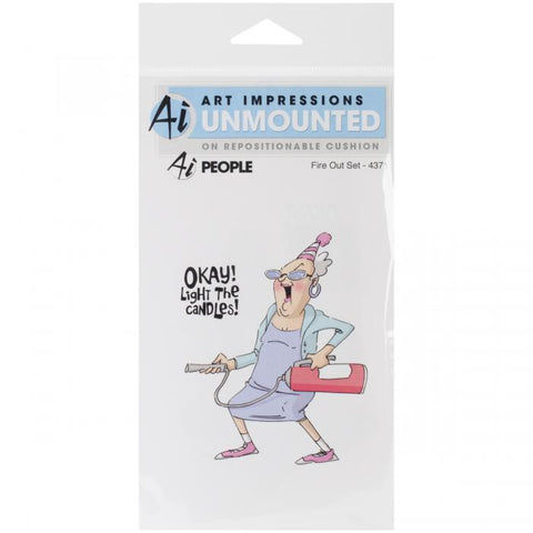 Art Impressions People Cling Rubber Stamp Fire Out 7inx4in