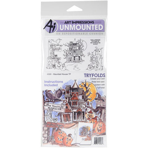 Art Impressions Tryfolds Cling Rubber Stamps Haunted House