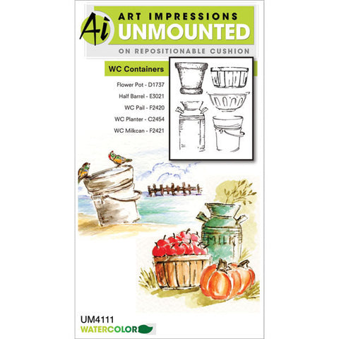 Art Impressions Watercolor Cling Rubber Stamp - Containers
