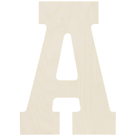Baltic Birch Collegiate Font Letter A 13.5in