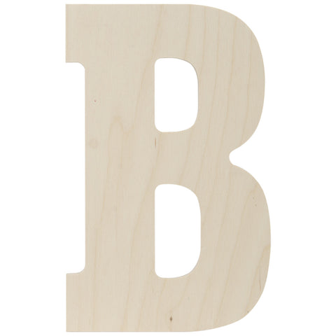 Baltic Birch Collegiate Font Letter B 13.5in