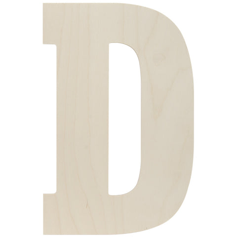 Baltic Birch Collegiate Font Letter D 13.5in