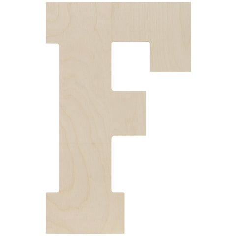 Baltic Birch Collegiate Font Letter F 13.5in
