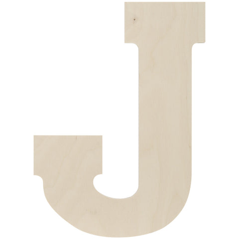 Baltic Birch Collegiate Font Letter J 13.5in