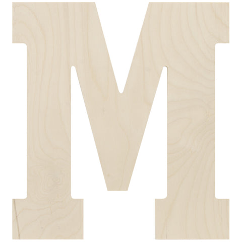 Baltic Birch Collegiate Font Letter M 13.5in