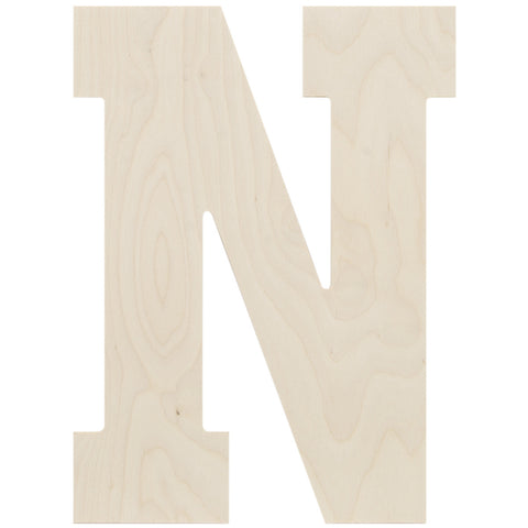 Baltic Birch Collegiate Font Letter N 13.5in