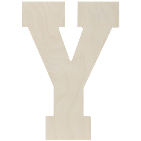 Baltic Birch Collegiate Font Letter Y 13.5in