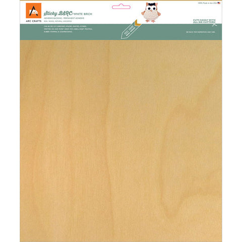 BARC Wood Sheet with Adhesive Backing White Birch 12inx12in