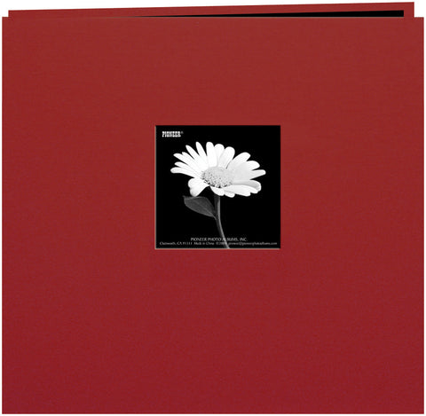 Pioneer Book Cloth Cover Postbound Album with Window Burgundy 12inx12in