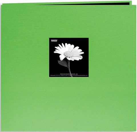 Pioneer Book Cloth Cover Postbound Album with Window Citrus Green 12inx12in