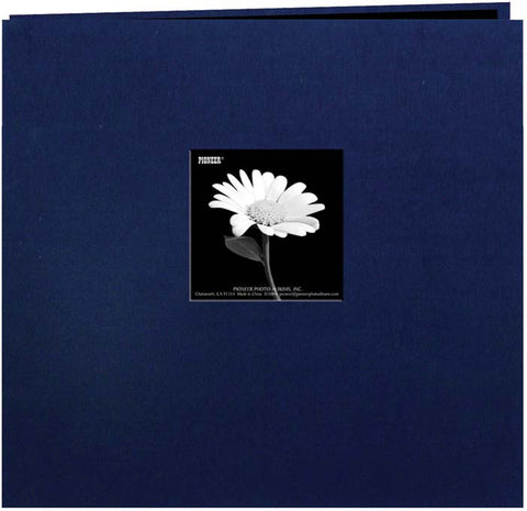 Pioneer Book Cloth Cover Postbound Album with Window Regal Navy 12inx12in