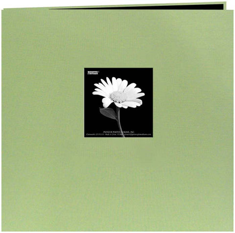 Pioneer Book Cloth Cover Postbound Album with Window Sage Green 12inx12in