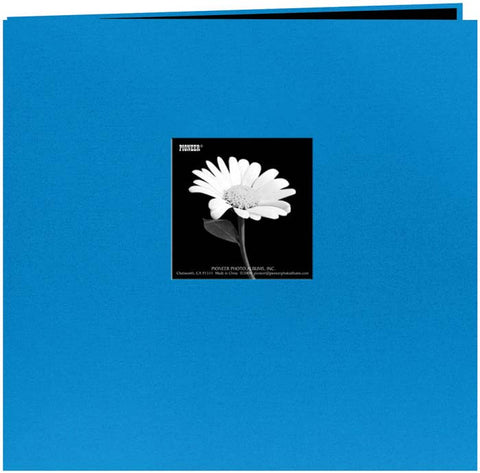 Pioneer Book Cloth Cover Postbound Album with Window Sky Blue 12inx12in