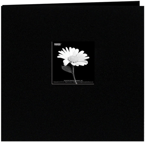 Book Cloth Cover Postbound Album with Window Black 8inx8in