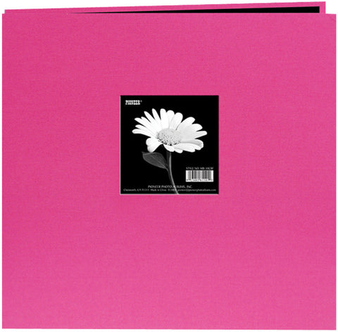 Book Cloth Cover Postbound Album with Window Bright Pink 8inx8in