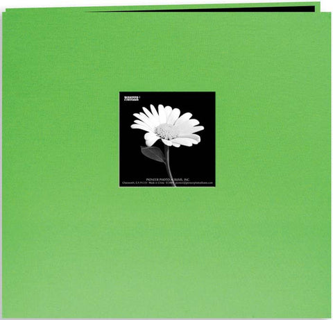 Book Cloth Cover Postbound Album with Window Citrus Green 8inx8in