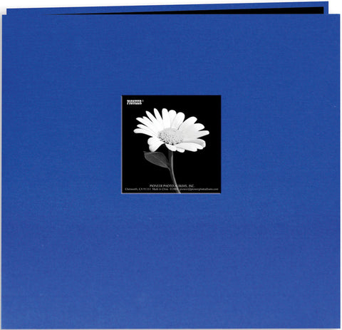 Book Cloth Cover Postbound Album with Window Cobalt Blue 8inx8in