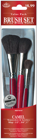 Brush Set Value Pack Camel 3pk Mop .5in .75in 1in