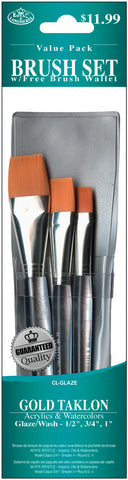 Brush Set Value Pack Gold Taklon 3pk Glaze Wash .5in .75in 1
