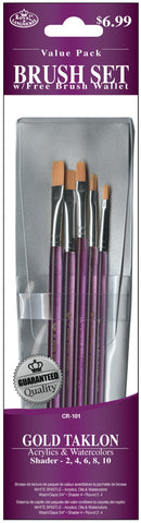 Brush Set Value Pack Gold Taklon 5pk Shader 2 4 6 8 10