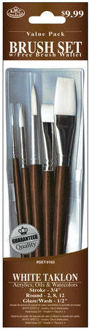 Brush Set Value Pack White Taklon 5pk