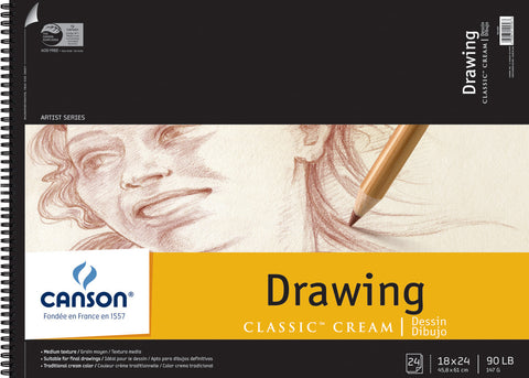 Canson Classic Cream Drawing Paper Pad 18inx24in