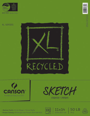 Canson Recycled Sketch Paper Pad 11inx14in