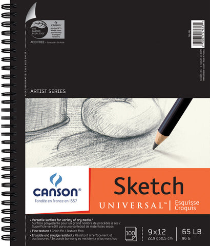 Canson Universal Sketch Paper Pad 9inx12in