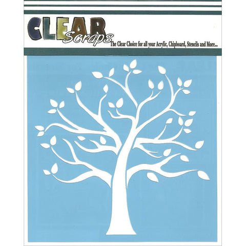 Clear Scraps Stencils Family Tree 12inx12in