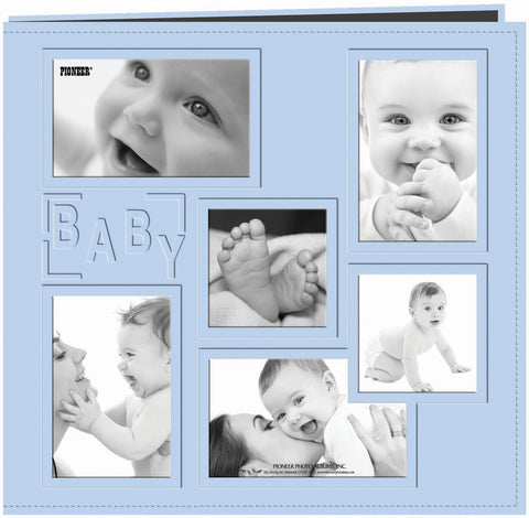 Pioneer Embossed Collage Frame Post Bound Album Blue Baby 12inx12in